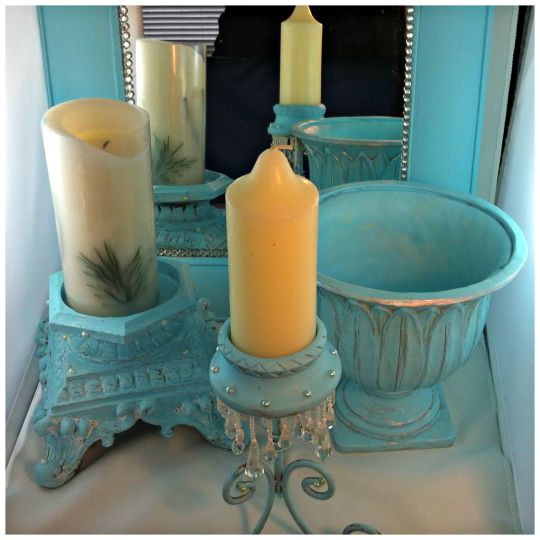 DIY Robin Egg Blue Décor Accents Using Left Over Wall Paint
