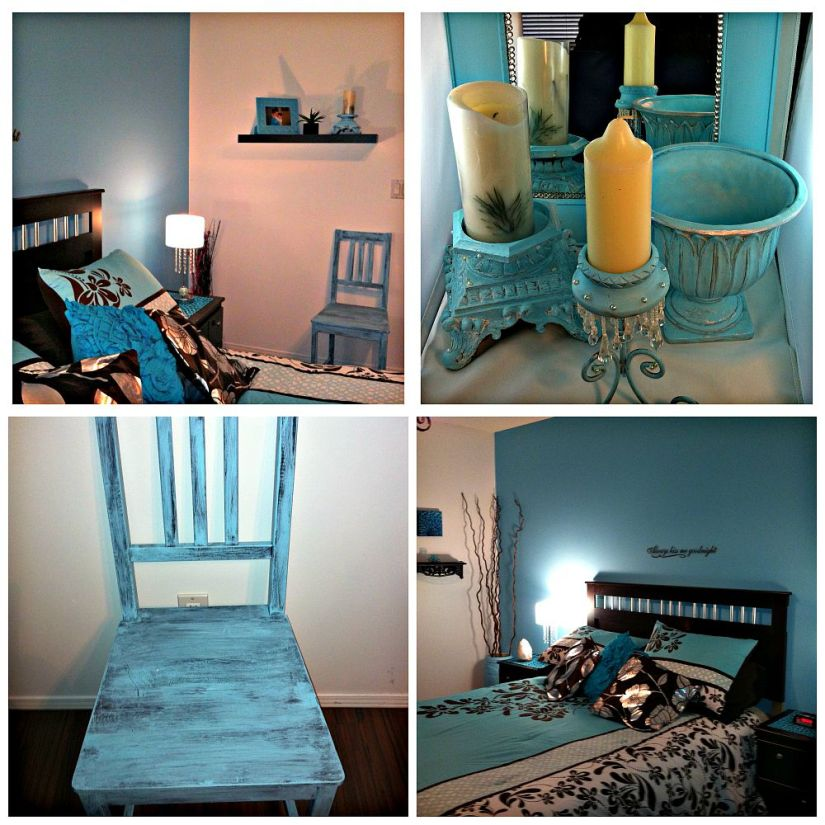 DIY Robin Egg Blue Use Left Over Wall Paint for Decor Accents #bedroom_decor #blue #wallpaint #reuse #decor_accents #DIY #Vase #candle #shabby_chic #tipsandtricks #howto