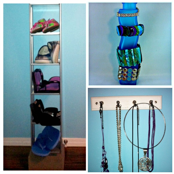 DIY Upcycled and Repurposed Accessory Storage for shoes and jewellery #DIY #Repurposed #CDrack #vase #organizeaccessories #jewellerystorage #bedroom