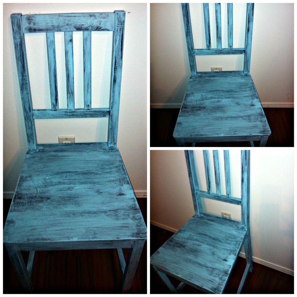 DIY Robin Egg Blue Décor Chair Using Left Over Wall Paint