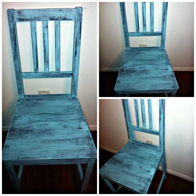 Easy Shabby Chic Chair DIY Robin Egg Blue Use Left Over Wall Paint for Decor Accents #bedroom_decor #blue #wallpaint #reuse #decor_accents #DIY #Vase #candle #shabby_chic #tipsandtricks #howto