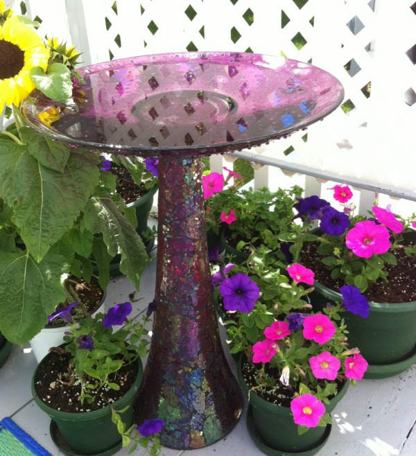 DIY Bird Bath Made With Up-Cycled Vase and Platter #bird_bath #birds #DIY #Up-cycle #YardandGarden #Patio_decor #Purple #Vase #Platter