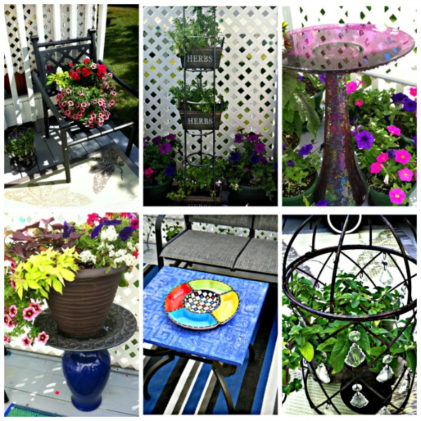 8 DIY Patio Accents #trashtotreasure #patio #diy #yard #garden #up-cycle #re-purpose #patio_table #plant_stand #bird_bath #herb_garden