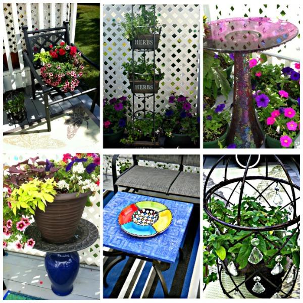 8 DIY Patio Accents #trashtotreasure #patio #diy #yard #garden #up-cycle #re-purpose #patio_table #plant_stand #bird_bath #herb_garden