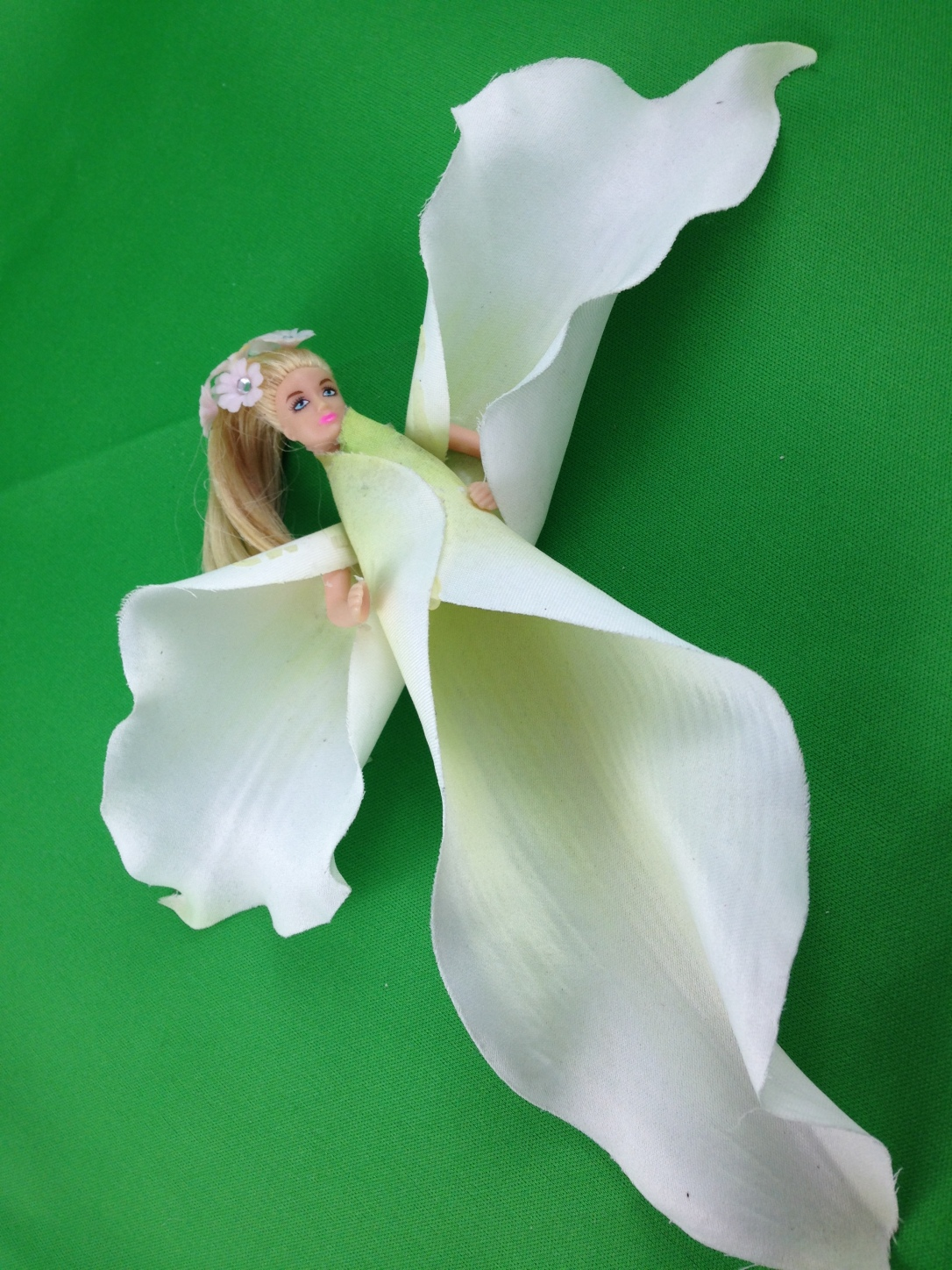 Lily Fairy Made With Old Doll and Silk Lily Petals
