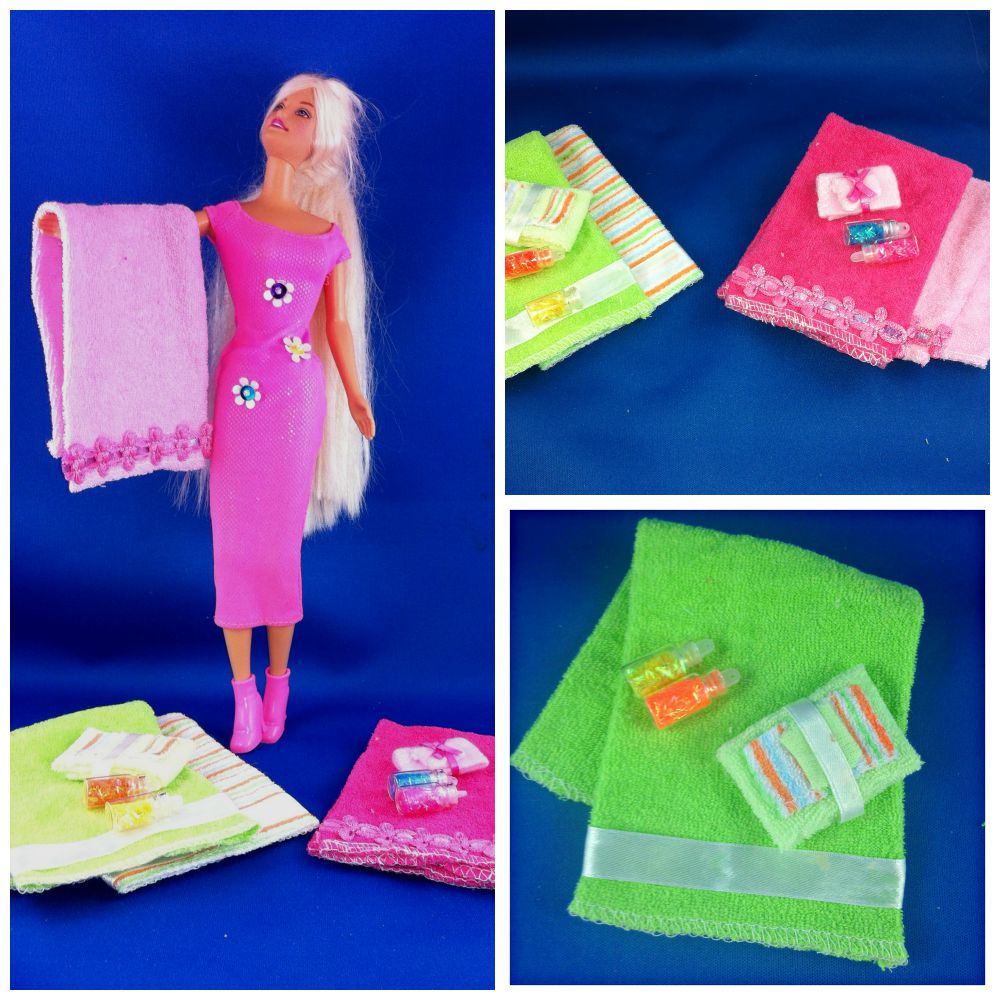 Barbie Towel Collection DIY Barbie Doll Towel Set. Easy to make Barbie Doll accessories. #barbiedoll #towels #DIY #Upcycle #Repurpose #Reuse #Toys