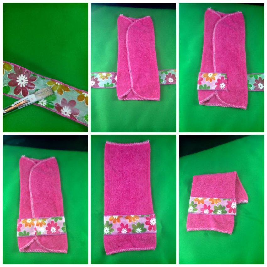 Adding ribbon to your Barbie towel