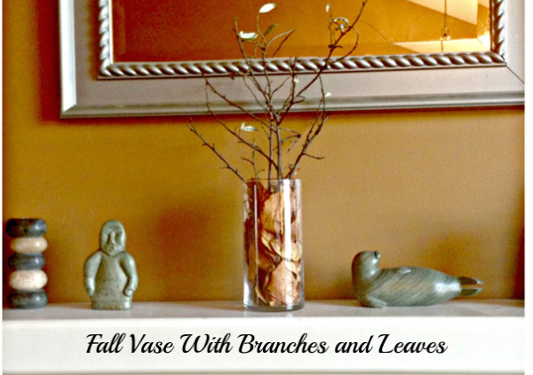 Fall Decor Vase With Branchs and Leaves #home_decorating #fall #vase #branches #leaves #fireplace