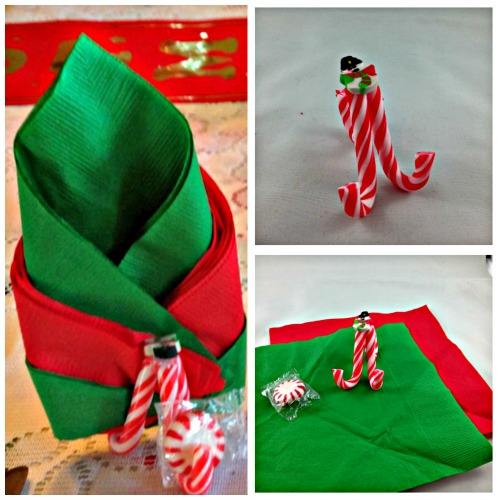 Christmas DIY Candy Can Napkin and Mint Holder. #Easycraft #Christmas #napkinholder #mint #foldingnapkins #Christmastablesetting #handmade #redandgreen