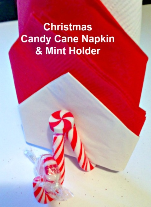 Christmas DIY Candy Can Napkin and Mint Holder. #Easycraft #Christmas #napkinholder #mint #foldingnapkins #Christmastablesetting #handmade #redandgreen #howto #howto #redandgreen