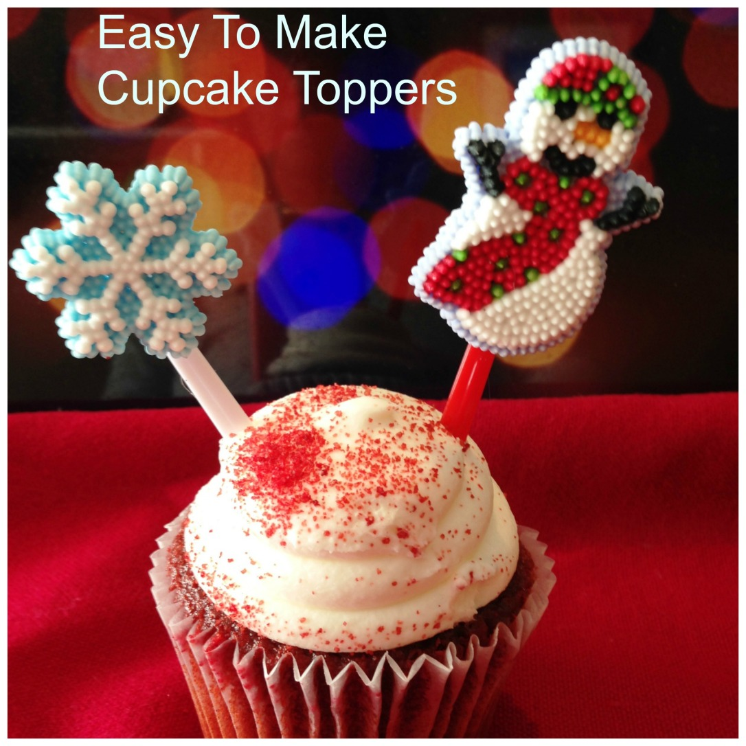 DIY Christmas Cupcake Toppers. Glue decorations to a plastic skewer and insert. A great craft for kids or adults to make. If your entertaining on the holidays this is a beautiful, unique way to fancy things up. #cupcake #topper #Christmas #holidays #baking #entertaining