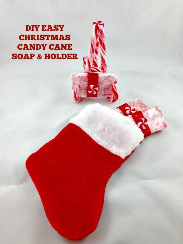 Gift Idea Christmas Easy DIY Soap and Candy Cane Soap Holder #Christmas #soap #craft #candycane #easy #DIY #soapholder