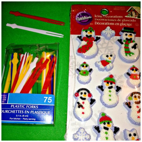 Glue decorations to a plastic skewer and insert. A great craft for kids or adults to make. If your entertaining on the holidays this is a beautiful, unique way to fancy things up DIY Easy Christmas Cupcake Toppers  #DIY #Easy #Christmas  #Cupcake #Toppers #Decorating #Baking #craft. #cupcake #topper #Christmas #holidays #baking #entertaining