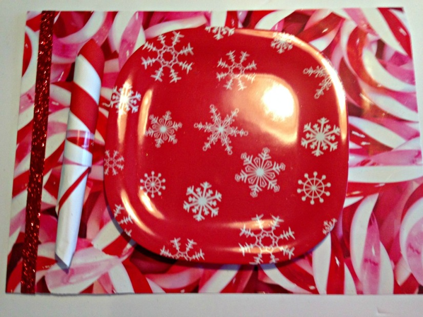 Candy cane place mat from reused gift bag