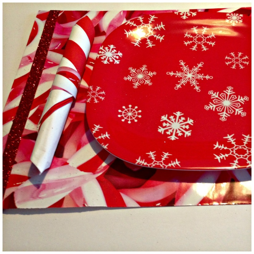 Place mat and napkin ring from reused gift bag