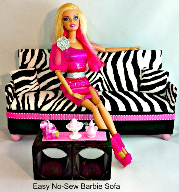 DIY No Sew Barbie Doll Couch or Sofas and Up-cycled Coffee Table #Zebraprint #nosew #barbiedoll #furniture #sofa #couch #coffee table #up-cycle #reuse #toys #Starrcreative.ca