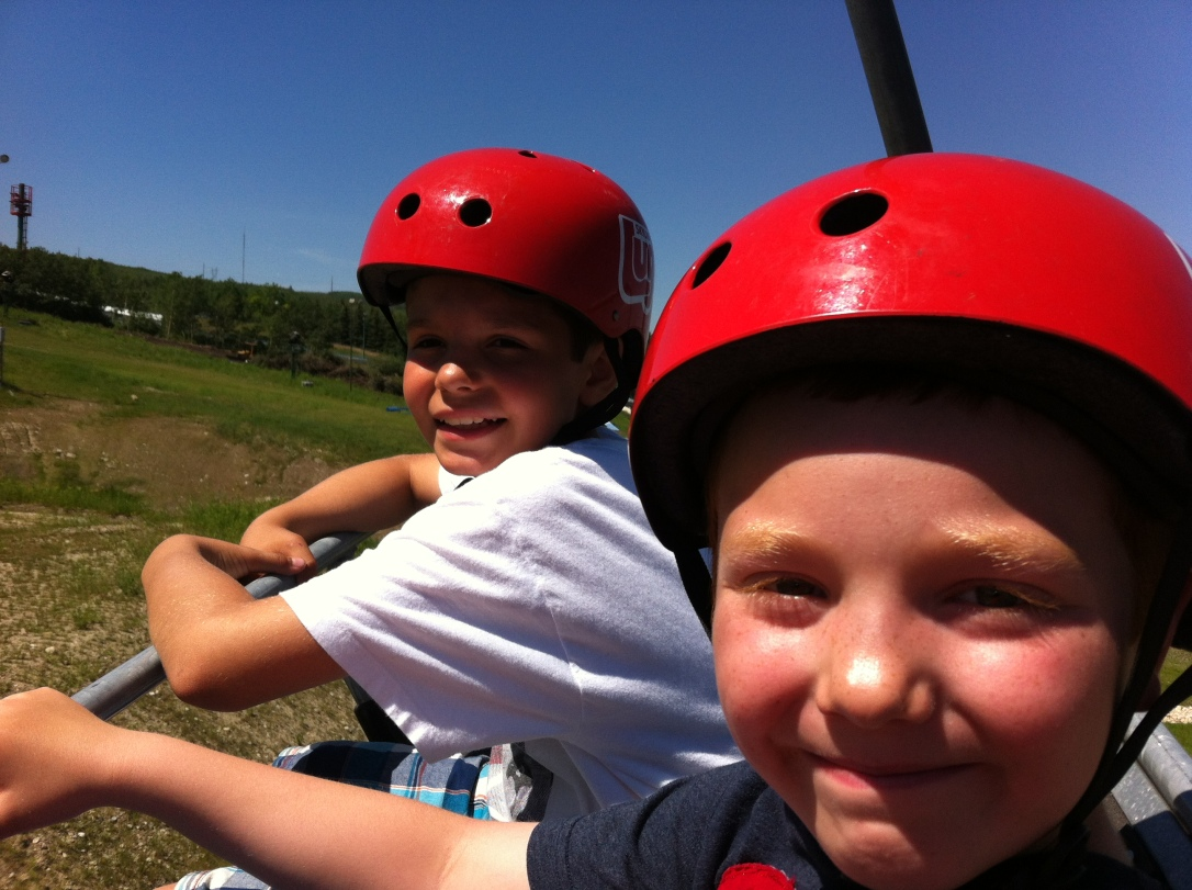 Family Fun At Calgary Skyline Luge - You Have To Try This! - View From Chair Lift #skyline_luge #calgary #family #attractions