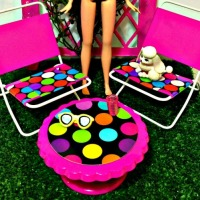 DIY Barbie Patio Set From Re-purposed Dollar Store Finds