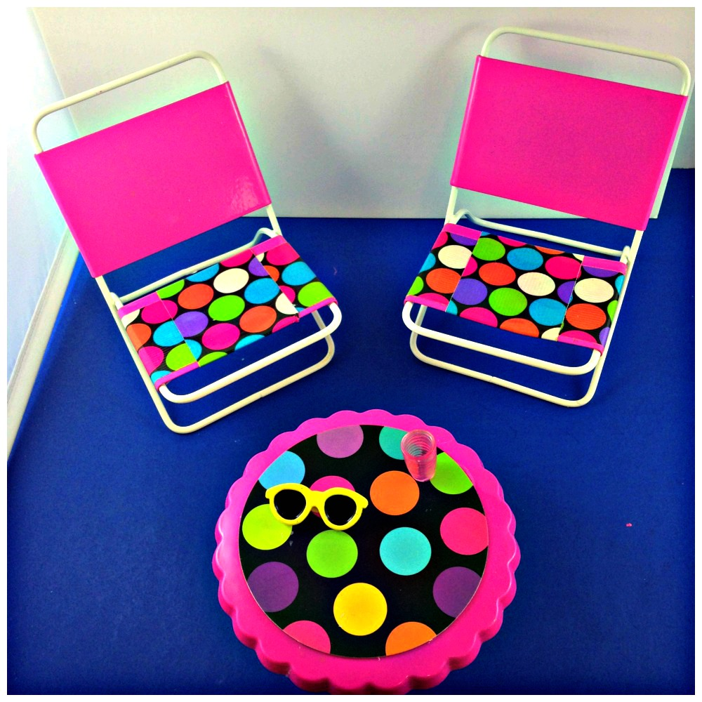 Barbie Patio Set from Dollar Store cupcake and candle holders