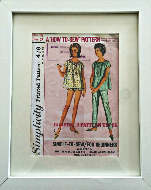 The Art of Repurpising Sewing pattern Sewing Room Wall Art #sewing #sewing_room #sewingroom_decor #sewingroom_wall_art #vintage #sewing_pattern #frame