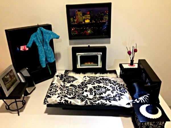 DIY Barbie Doll Hotel Trash to Treasure #barbiedoll #furniture #upcycle #hotel #fireplace #bed #TV #diorama #repurpose #DIY #Thriftstore #trashtotreasure #Starrcreative.ca