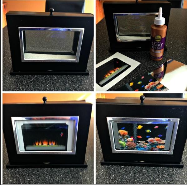 DIY Barbie Doll Reversible Fireplace and Fishtank DIY Barbie Doll Hotel Trash to Treasure #barbiedoll #furniture #upcycle #hotel #fireplace #bed #TV #diorama #repurpose #DIY #Thriftstore #trashtotreasure #Starrcreative.ca