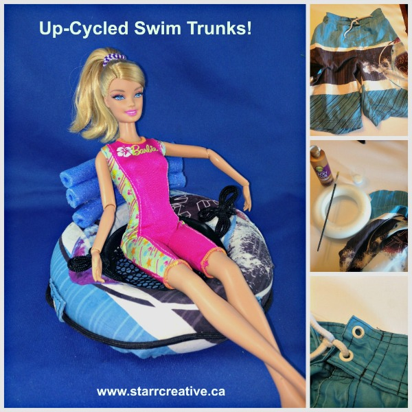 Barbie Doll DIY Float Tube Make form Old Swim Trunks. #barbieaccessories #barbiedoll #rivertube #floattube #handmade #toys #swimtrunks Beach #beachtoys #DIY #recycle #repurpose #upcycle