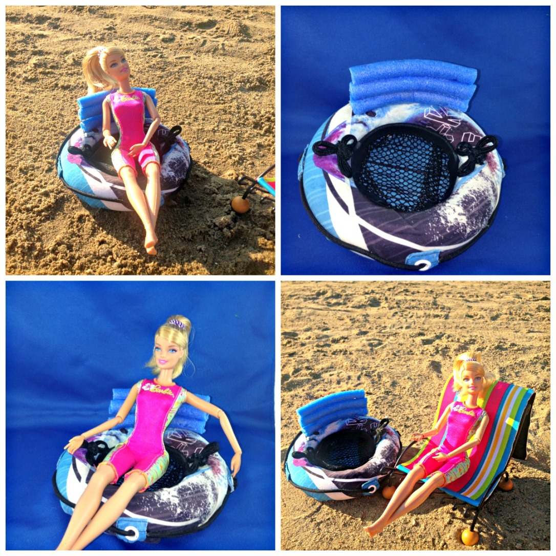 float tube handles DIY Barbie Doll Float Tube for River or Lake Made from Swim Trunks #barbiedoll #floattube #accesories #upcycled #DIY #toys #beach