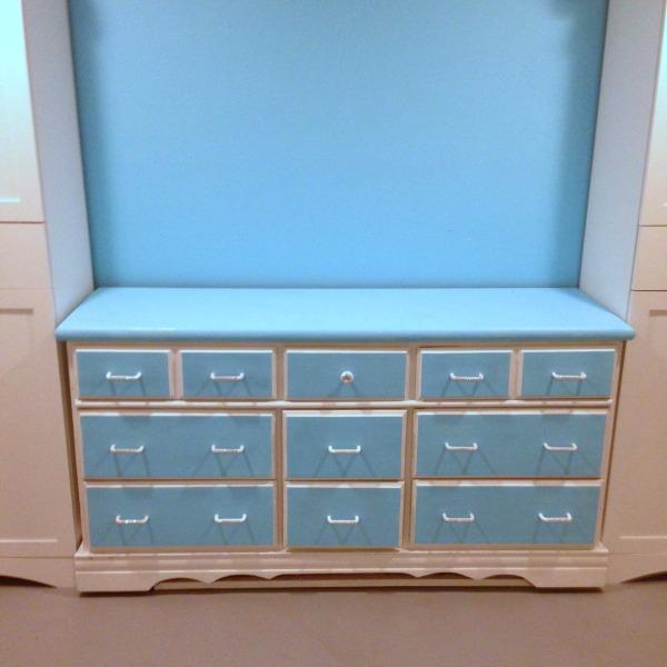 DIY Vintage Dresser Restoration in Blue and White with Jewel Drawer Handles. Used for Craft Supply Storage #Vintage #furniture #makeover #refurbish #Blue #white #repurpose #craftroomsupplies