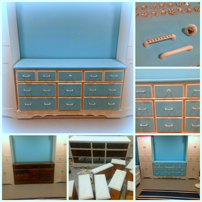 DIY Vintage Dresser Restoration in Blue and White with Jewel Drawer Handles. Used for Craft Supply Storage #Vintage #furniture #makeover #refurbish #Blue #white #repurpose #craftroomsupplies
