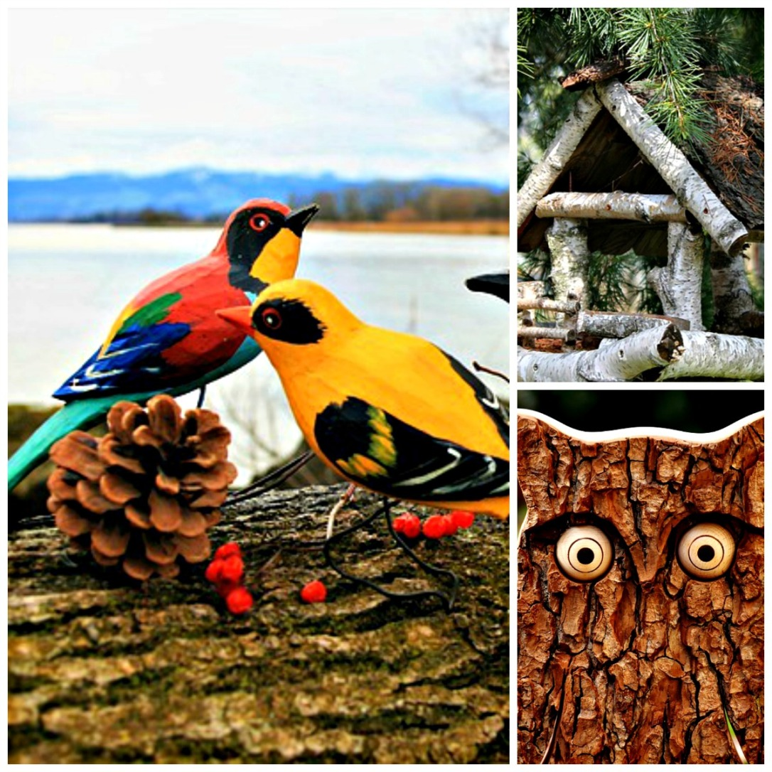 Carved Wood Birds and Log Bird House Fall Decor