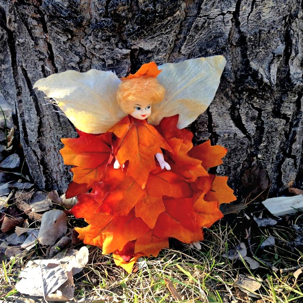 DIY Fall Forest Fairy made from abandon doll. #fairy #fall #doll #diy #upcycle