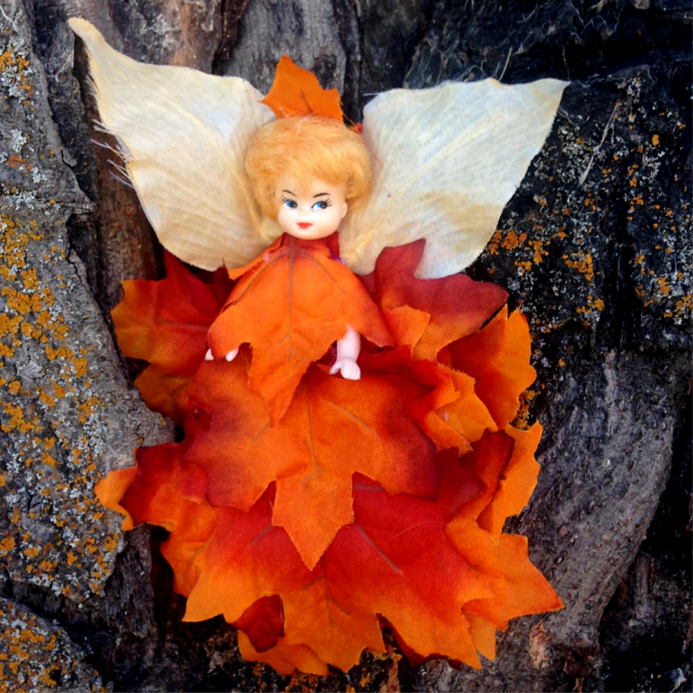 DIY Fall Forest Fairy Made from Abandon Doll and Faux Leaves #fairy #doll #DIY #repurpose #upcycle #fall #autumn #forest #craft