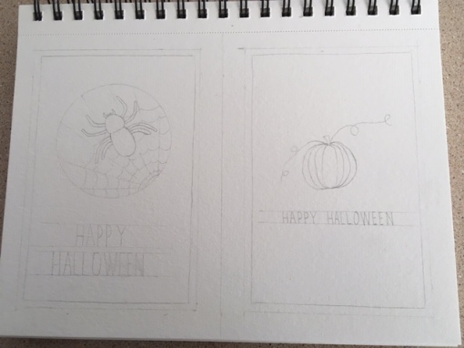 DIY Halloween Cards and Miniature Colouring BookHalloween Sketch