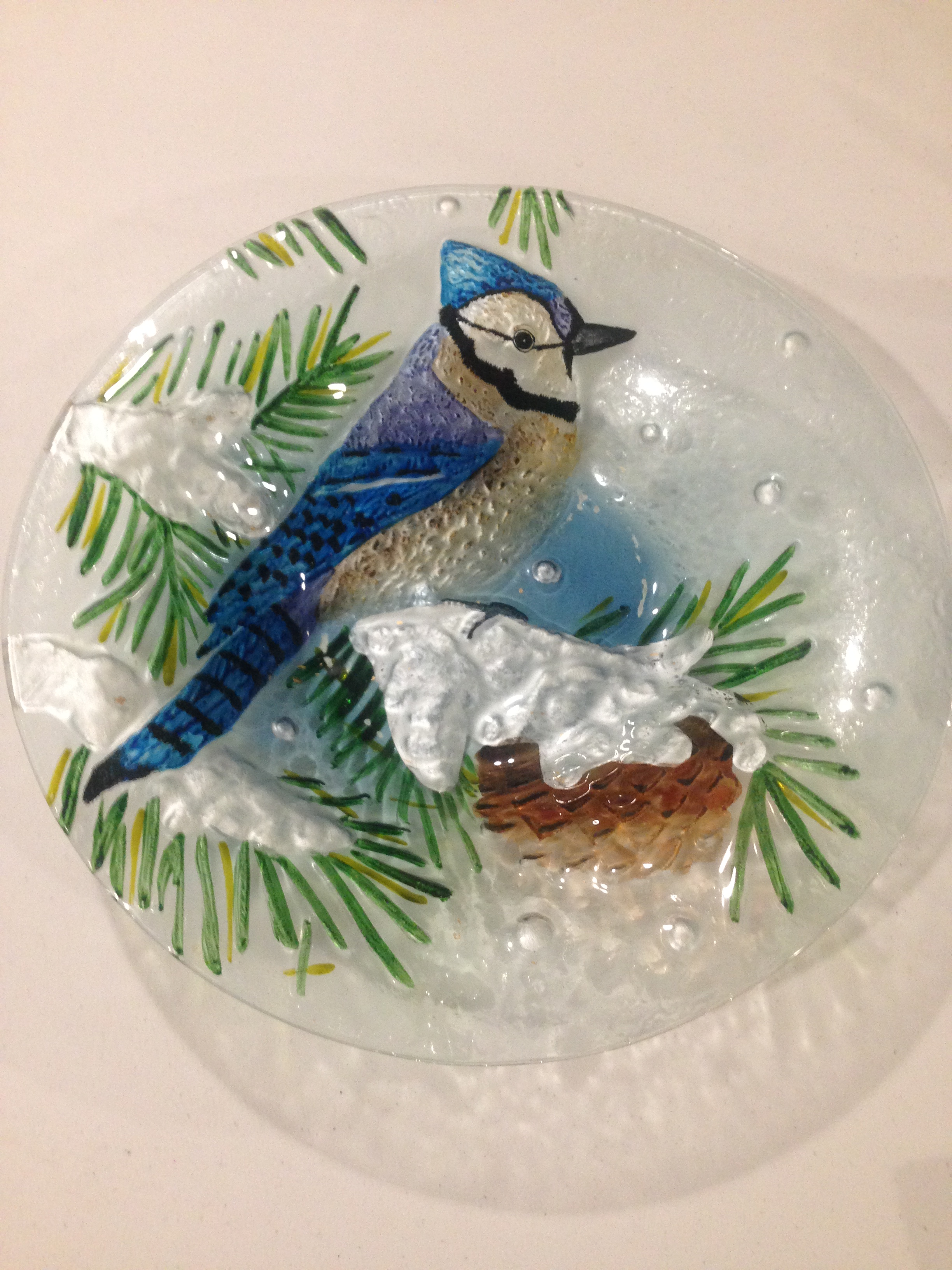 DIY Bird Bath Blue Jay Platter