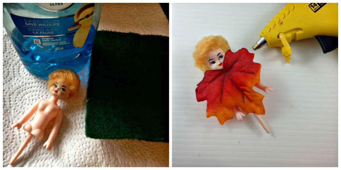 Making a Fall Fairy DIY Fall Fairy from Salvaged Doll DIY Fall Forest Fairy Made from Abandon Doll and Faux Leaves #fairy #doll #DIY #repurpose #upcycle #fall #autumn #forest #craft