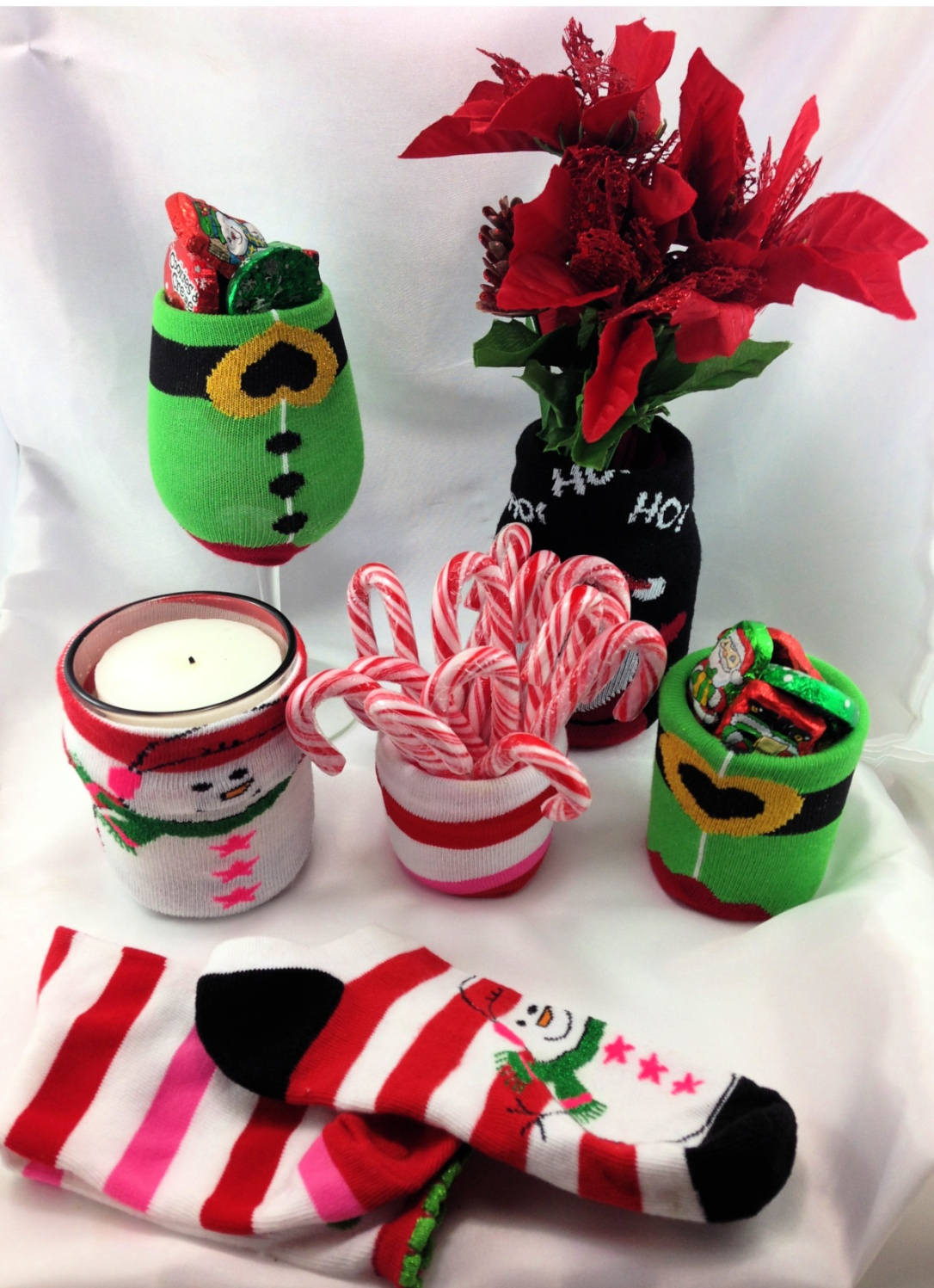 DIY Christmas Sock Baby Bottle Cozies Candy Dish, Vase, Candles, Socks