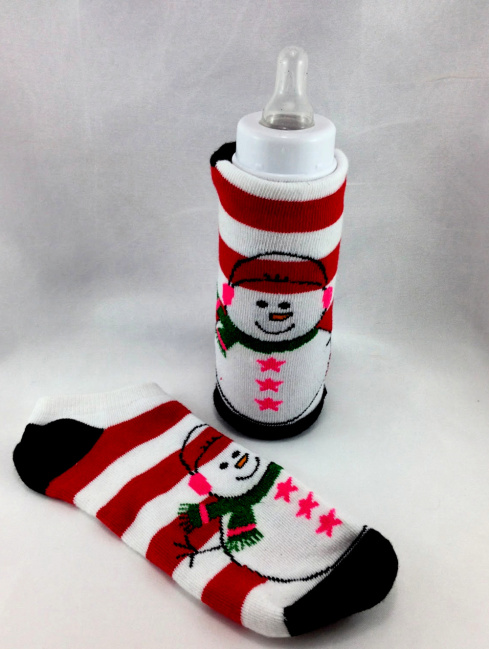 baby Bottle Cozies DIY Christmas Sock  #water_bottle DIY Christmas Sock Drink Cozies #christmas #craft #christmas_sock #cozie #drink_cozie #cozzie #wine_cozie #coffee_cozzie #DIY #repurpose