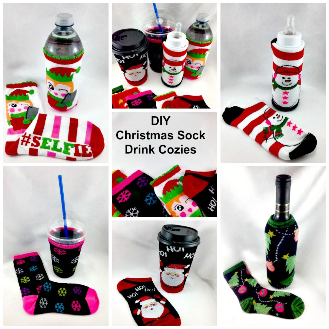 DIY Christmas Sock Drink Cozies #christmas #craft #christmas_sock #cozie #drink_cozie #cozzie #wine_cozie #coffee_cozzie #DIY #repurpose