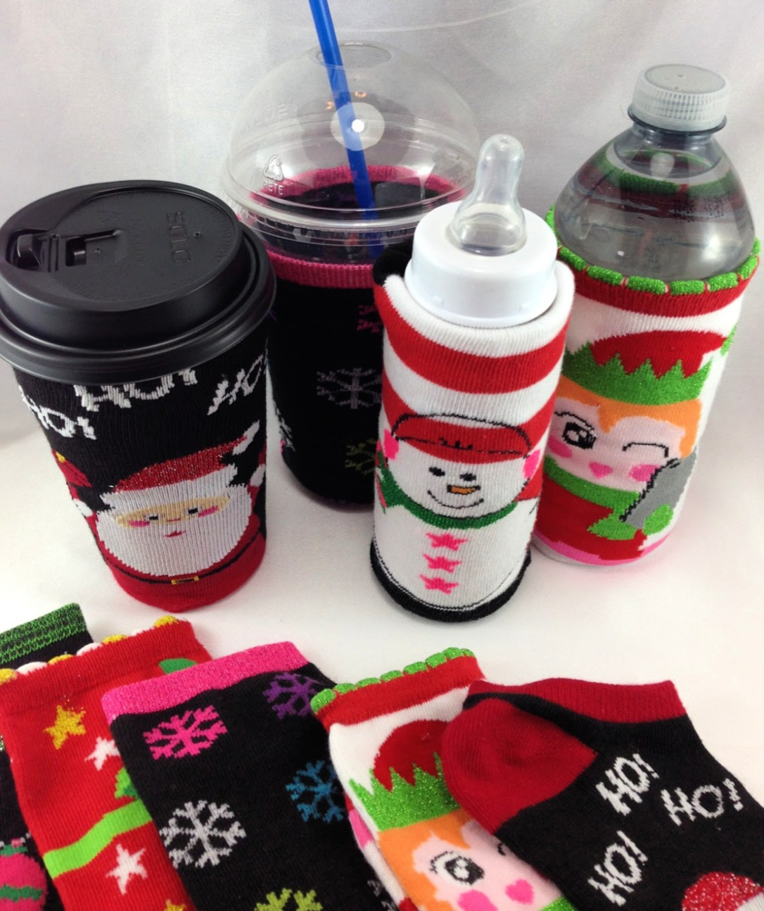 DIY Christmas Socks and Drinks DIY Christmas Sock Wine Bottle Cozies #water_bottle DIY Christmas Sock Drink Cozies #christmas #craft #christmas_sock #cozie #drink_cozie #cozzie #wine_cozie #coffee_cozzie #DIY #repurpose