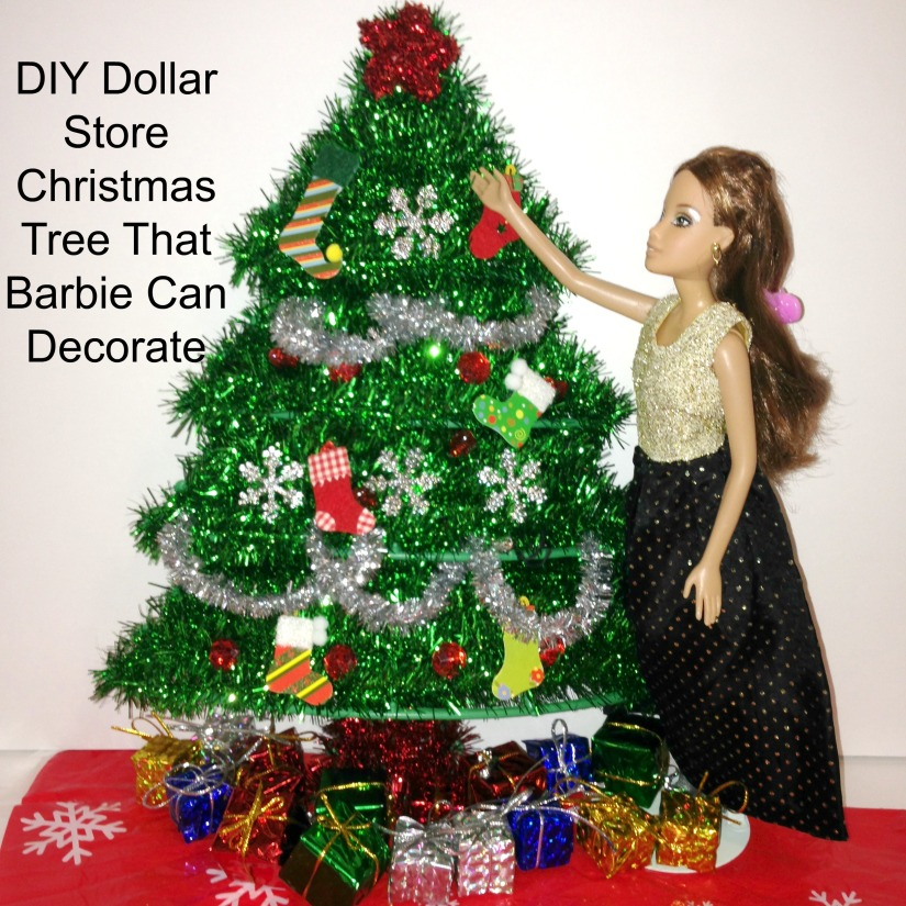 DIY Dollar Store Barbie-Doll Christmas Tree That Barbie Can Decorate! #barbie #DIY #Christmas_tree #Dollartree #Decorate Starrcreative.ca
