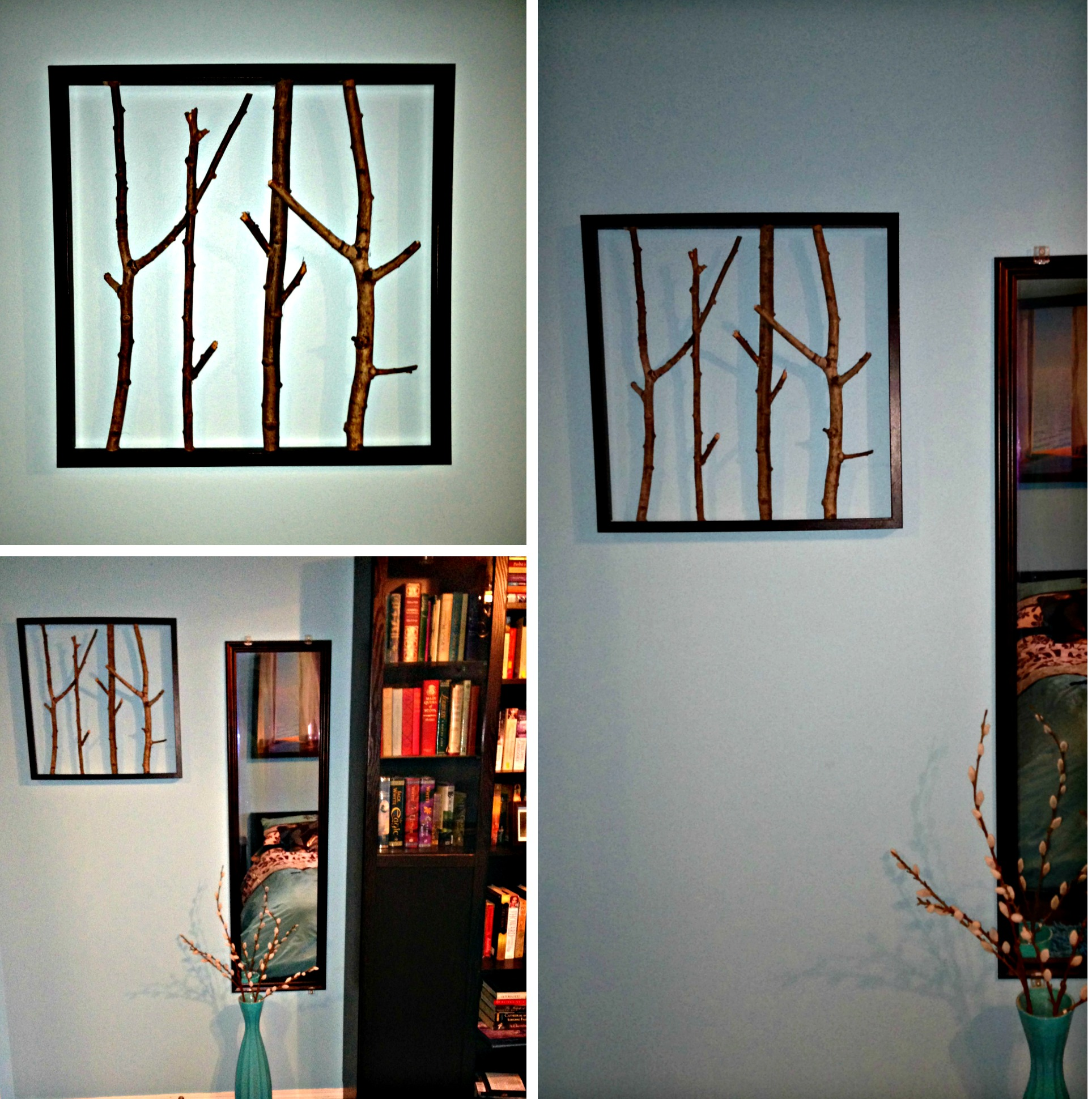 Easy Framed Branches Wall Art Makes A Lovely Addition to Blue Room Decor. #wallart #framedbranches #blue #bedroom