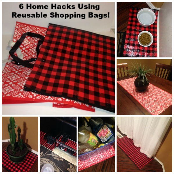 6 Easy DIY Home Hacks Using Reusable Shopping Bags #upcycle #shoppingbags #homedecor #bootmat #dogmat #doormat #tablerunner #cupboardliner
