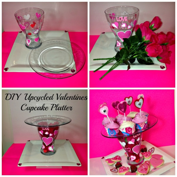 DIY Valentines Cupcake Toppers and Upcycled Stand  #Valentines #Upcycle #hearts#DIY #cupcakeplatter